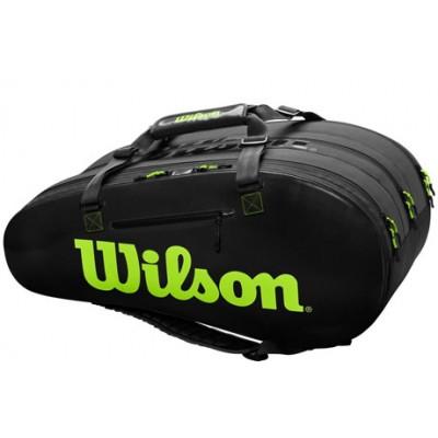 Чехол-сумка для ракеток Wilson Super Tour 3 Comp Large 15 Pack (черный/зеленый)