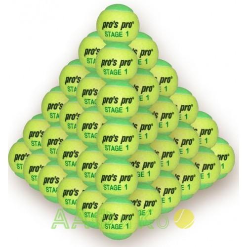 Мячи теннисные Pros Pro  Stage 1 желто/зеленые 60шт/уп