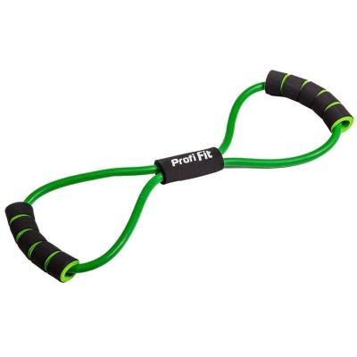 Эспандер трубчатый PROFI-FIT, восьмерка, зеленый, сопротивление среднее 5 кг