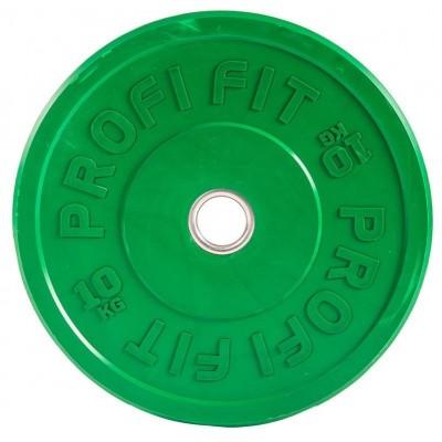 Диск для штанги каучуковый, цветной PROFI-FIT D-51, 10 кг