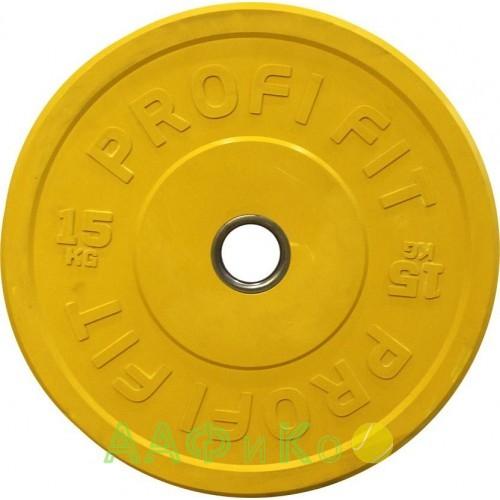 Диск для штанги каучуковый, цветной PROFI-FIT D-51, 15 кг