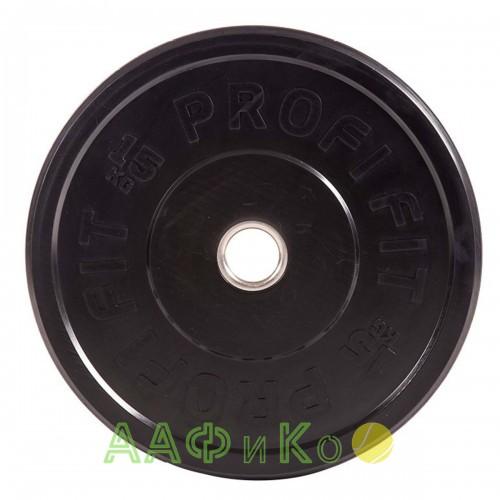 Диск для штанги каучуковый, черный PROFI-FIT D-51, 15 кг