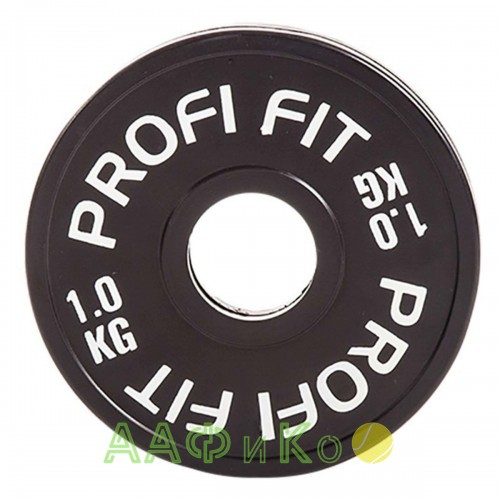 Диск для штанги каучуковый, черный PROFI-FIT D-51, 1 кг