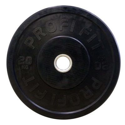 Диск для штанги каучуковый, черный PROFI-FIT D-51, 20 кг