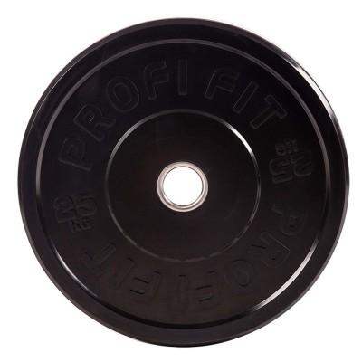Диск для штанги каучуковый, черный PROFI-FIT D-51, 25 кг