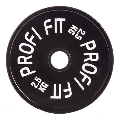 Диск для штанги каучуковый, черный PROFI-FIT D-51, 2,5 кг
