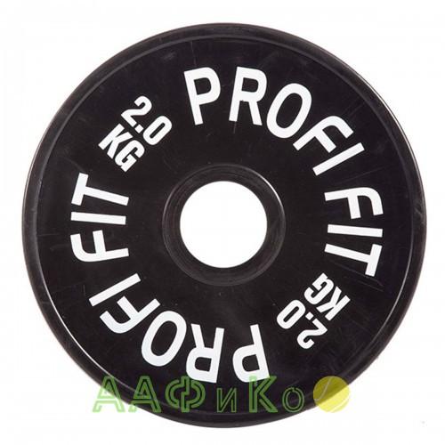 Диск для штанги каучуковый, черный PROFI-FIT D-51, 2 кг