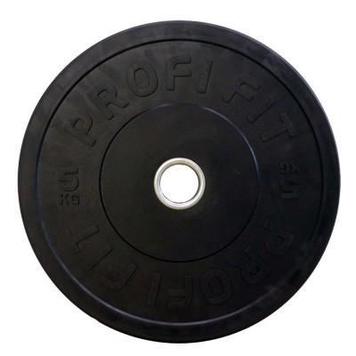 Диск для штанги каучуковый, черный PROFI-FIT D-51, 5 кг