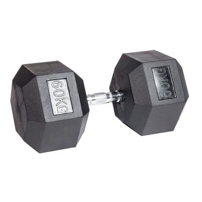 Гантель гексагональная обрезиненная ZSO, 60 кг