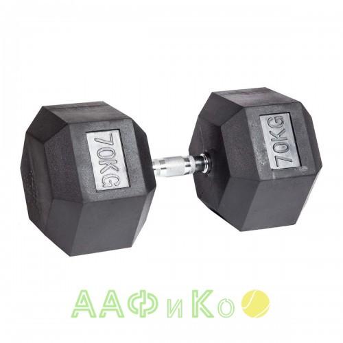 Гантель гексагональная обрезиненная ZSO, 70 кг