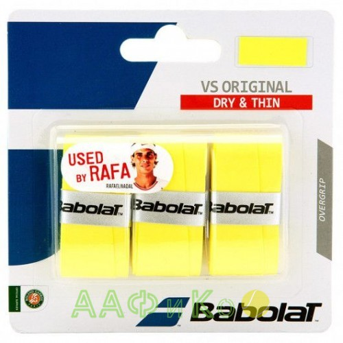 Намотка для теннисных ракеток Babolat VS ORIGINAL X3 (жёлтый) (Упаковка,3 штуки)