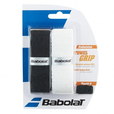 Намотка для ракеток бадминтона Babolat TOWER GRIP X2 (белый/чёрный) 2 шт.