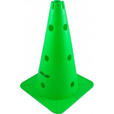 """Конус маркировочный Премиум 15 """"с отверстиями + выемка.зеленого цвета"""
