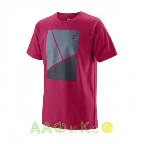 Майка спортивная детская для мальчиков Wilson Tramline Tech Tee Boy (розовый)