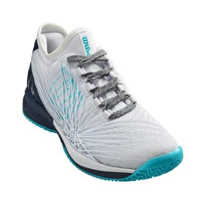 Кроссовки теннисные женские Wilson KAOS 2.0 SFT  (белый/чёрный/голубой)