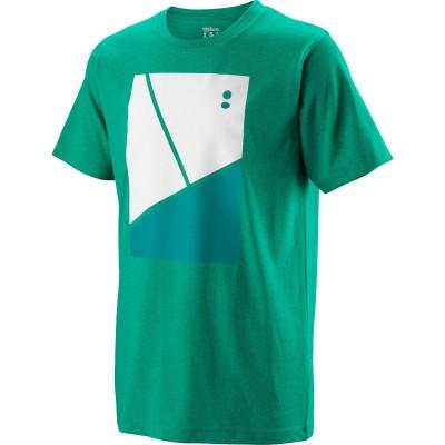 Майка спортивная детская для мальчиков Wilson Tramline Tech Tee Boy (зелёная)