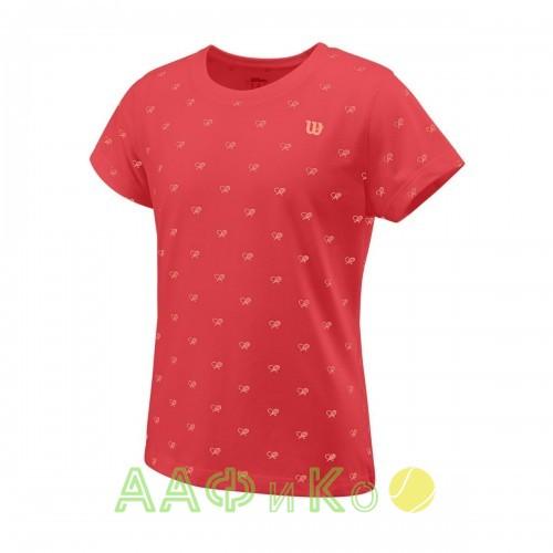 Майка спортивная Wilson Cause A Racket Tech Tee Girl (оранжевая)
