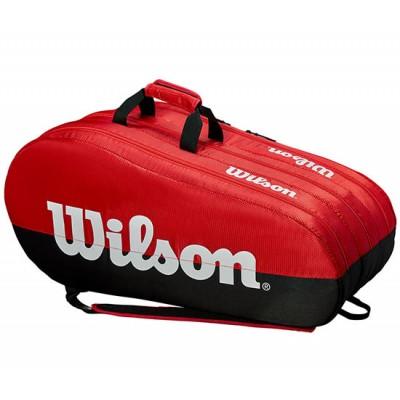 Чехол-сумка для ракеток Wilson TEAM 3 Comp 15 Pack (красный/чёрный)