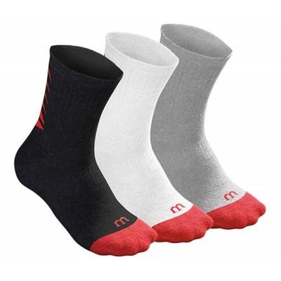 Носки спортивные Wilson Youth UW2 Script Tech Tee Sock 3 пары в упаковке (белый/чёрный/серый)