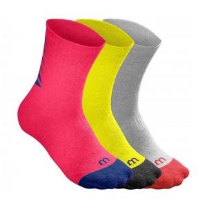 Носки спортивные Wilson Youth Seasonal Crew Sock 3 пары в упаковке (красный/жёлтый/серый) размер 31-