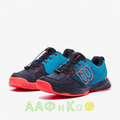 Кроссовки теннисные детские Wilson KAOS JR QL (чёрный/голубой)