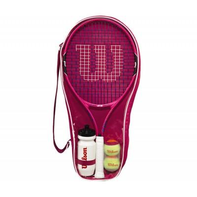 Набор для тенниса Wilson Burn Pink 25 Starter Set (ракетка, 2 оранж. мяча, бутылка)  (WRT219000)