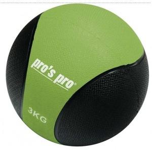 Мяч набивной (медицинбол) Medizinball зелено/черный  3 кг