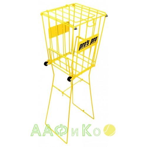 Корзина Pros Pro для теннисных мячей Ballkorb 72 с колесиками желтая